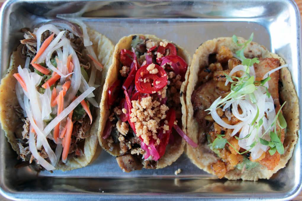 Mestiza tacos: (from L to R) Filipino Pork Adobo, Khmer Lemongrass Chicken, and Pescado Al Pastor.