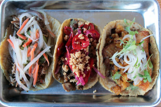 Mestiza tacos: (from L to R) Filipino Pork Adobo, Khmer Lemongrass Chicken, and Pescado Al Pastor.