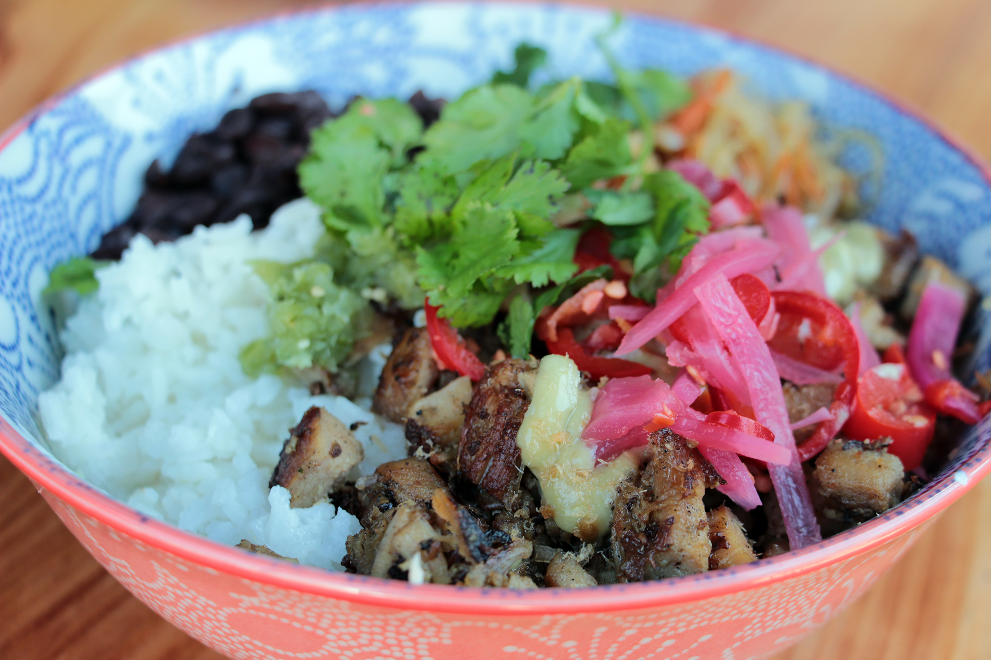 Mestiza Bowl with Khmer Lemongrass Chicken.