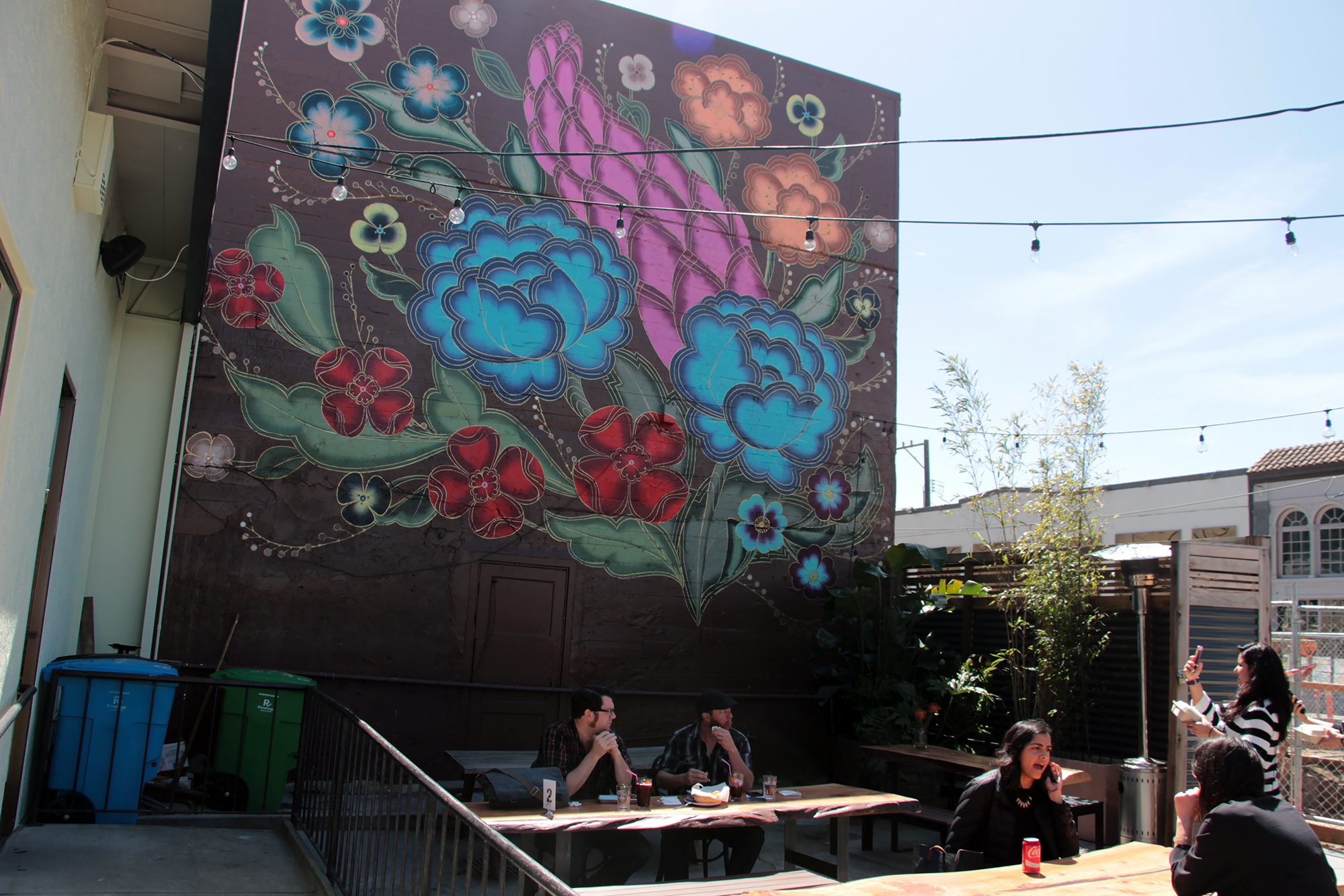 Outdoor patio at Mestiza during lunchtime.