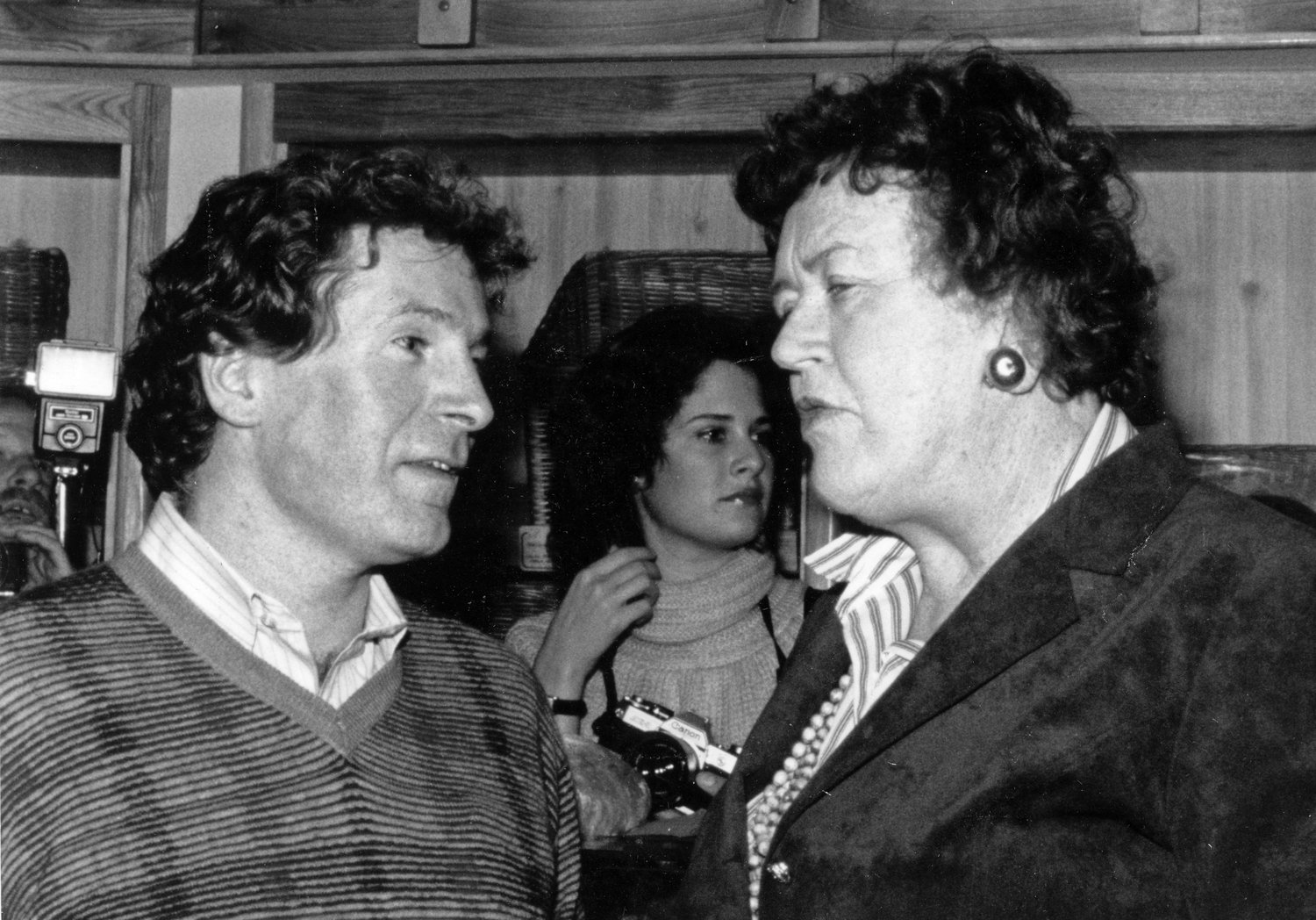 Jeremiah Tower with Julia Child at her birthday party in the early 1980s