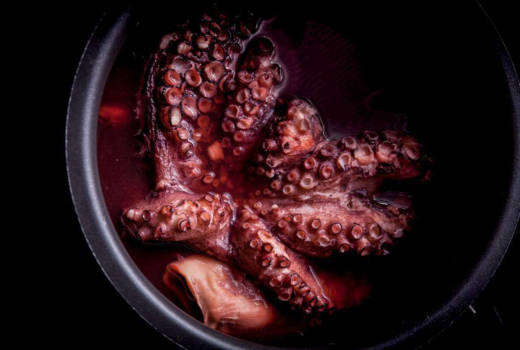 "Boiled octopus, a recipe for ""reliably tender, flavorful octopus that can be used as it is, or as a basis for fried or grilled octopus dishes,"" write Richard Horsey and Tim Wharton in Ugly Food. ""Octopus is also totally sustainable, very economical and incredibly versatile — the various methods of preparation and cooking lend it subtly different flavors,"" says Wharton."