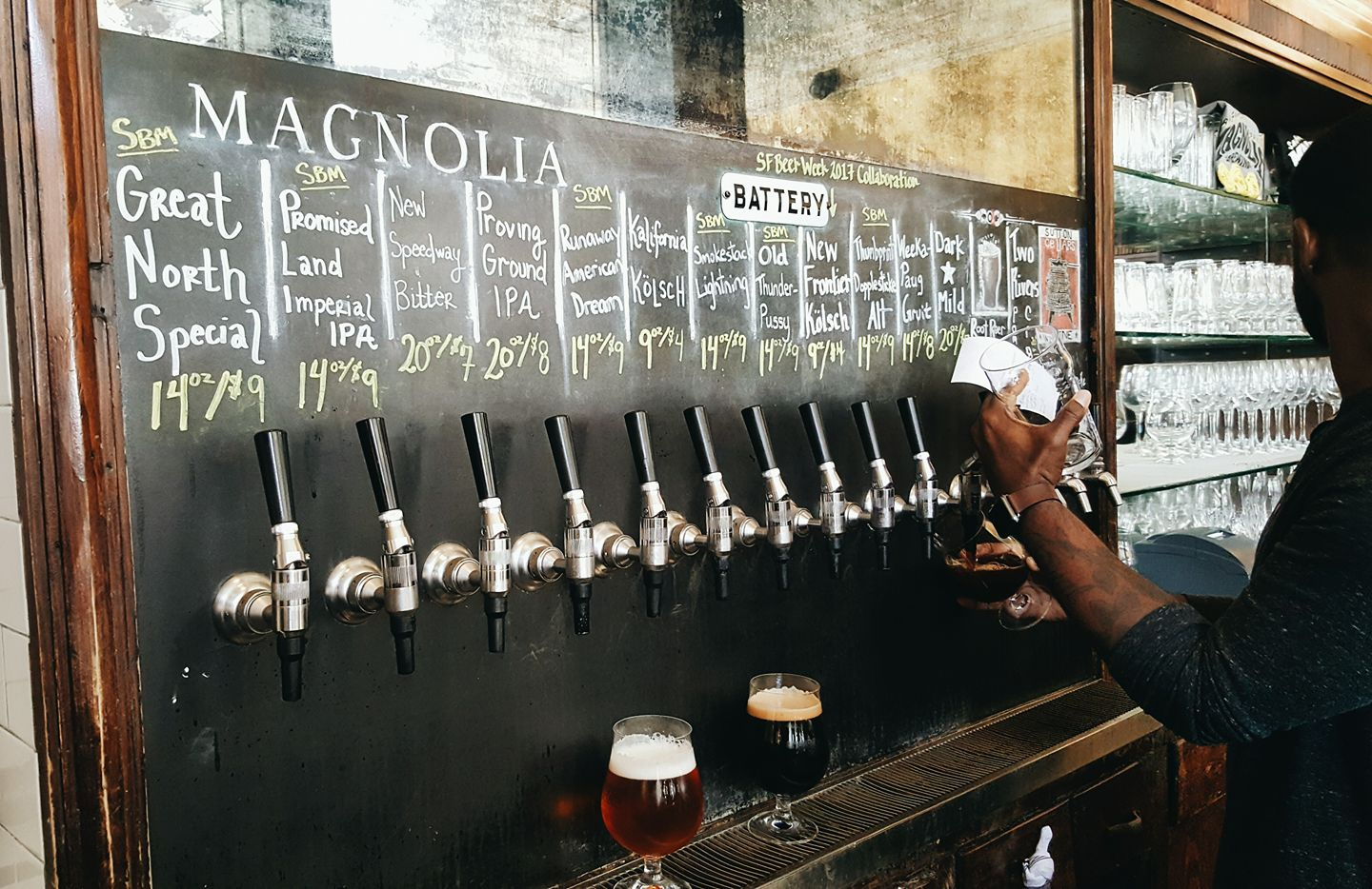 The taps at Magnolia Brewery