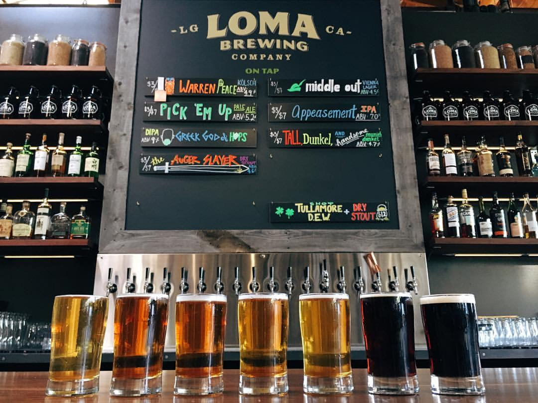 A Loma Brewing beer flight.
