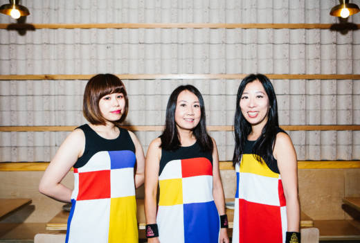 For our interview, Risa, Naoko and Atsuko changed into their signature outfits: geometric-patterned dresses, designed by Atsuko, reminiscent of a Mondrian painting.