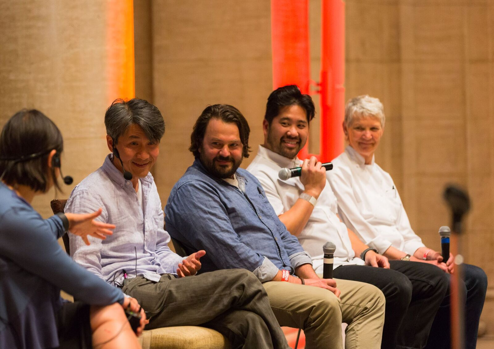Jennifer 8. Lee moderated the discussion between Minh Tsai, Stuart, Brioza, Brandon Jew and Annie Somerville.