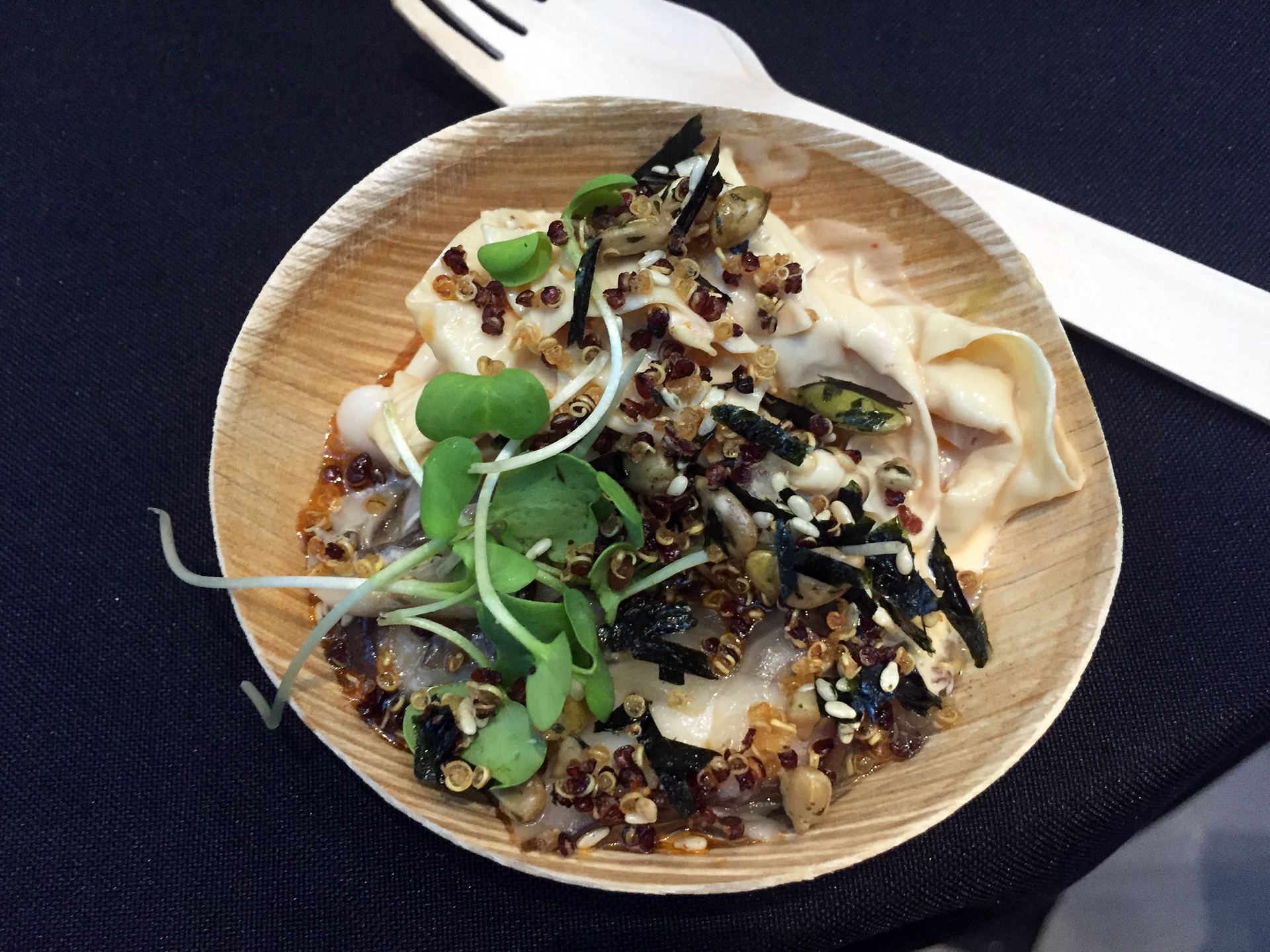 Stuart Brioza's cold yuba noodles pairs the slippery tofu skin with crunchy toasted quinoa for a multi-sensory bite.