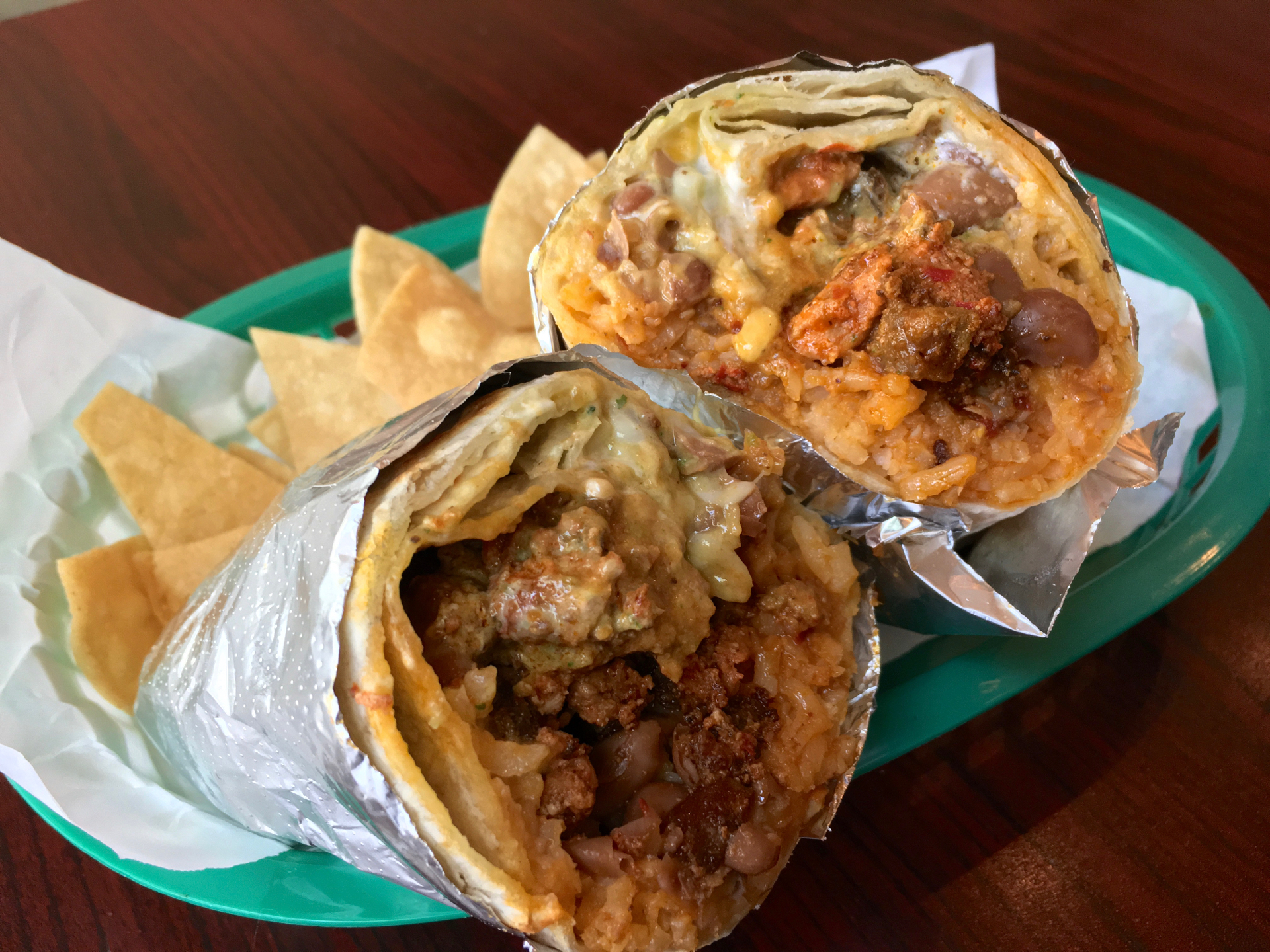 A super burrito with al pastor at Angelou's Mexican Grill.