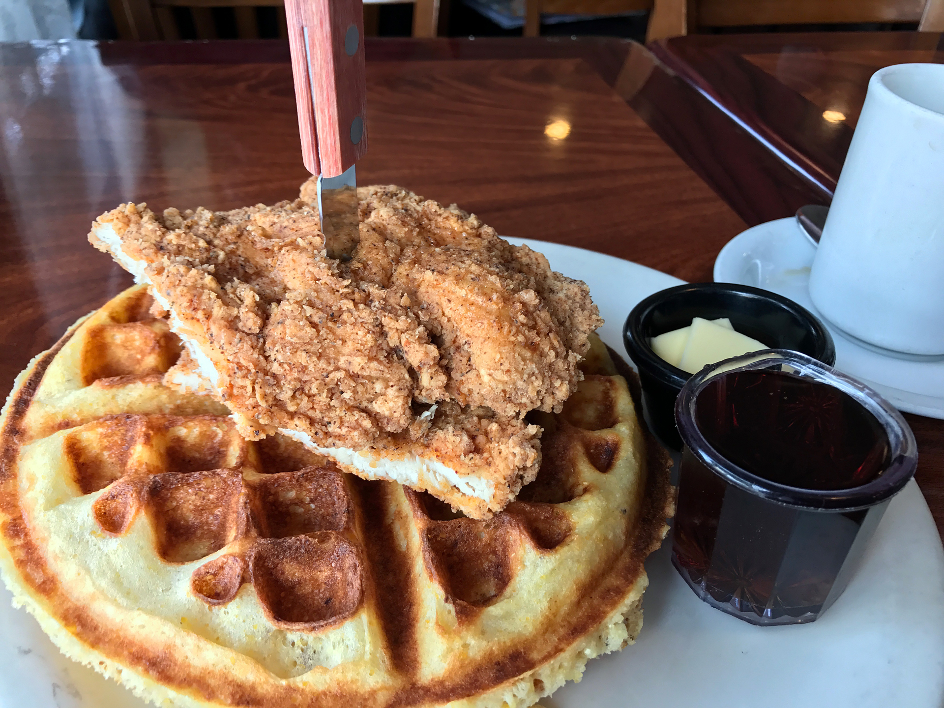 Chicken and Waffles at Aunt Mary's Cafe in Temescal.