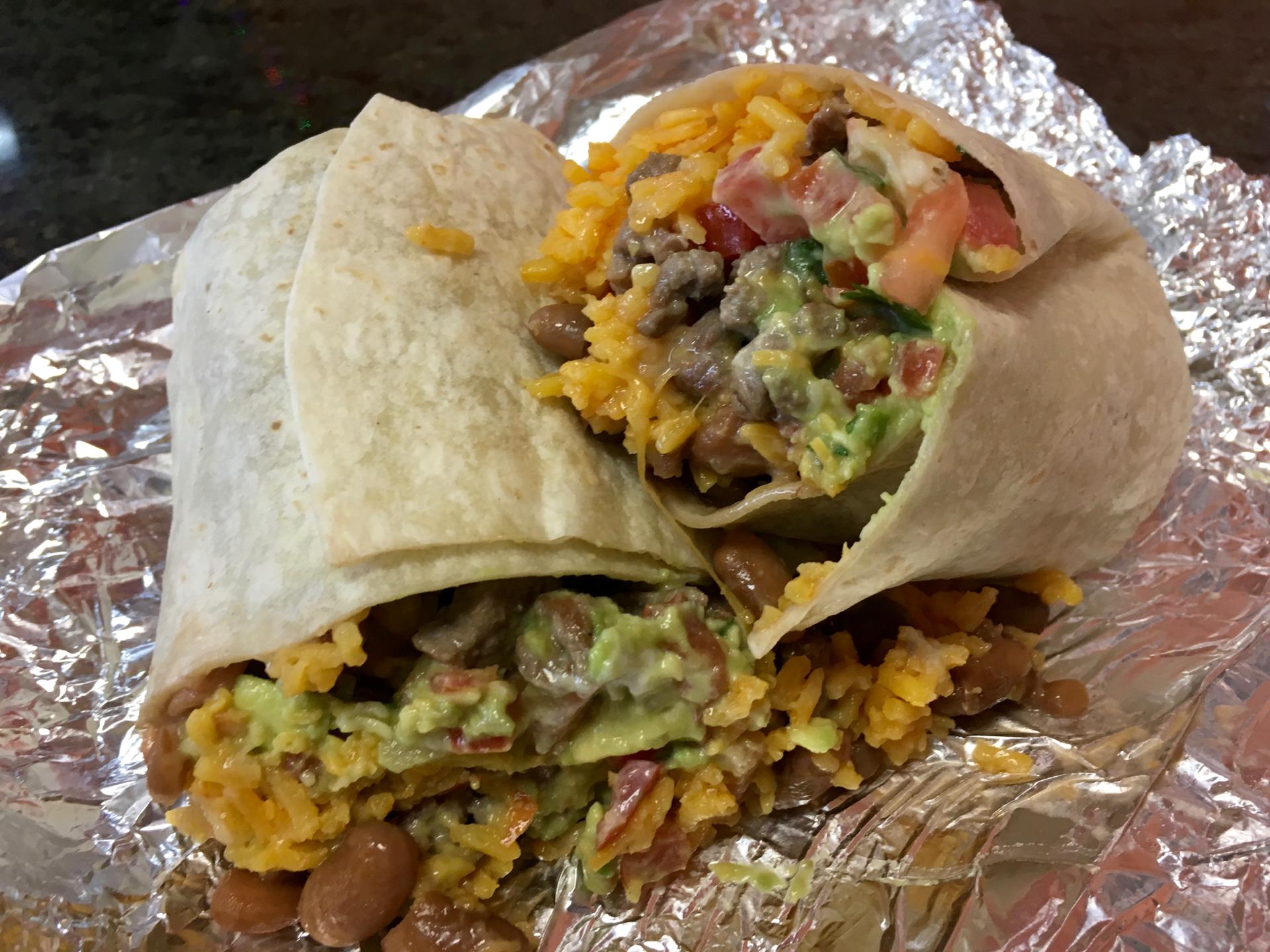 A super burrito with carne asada at La Costena Mexican Grill.