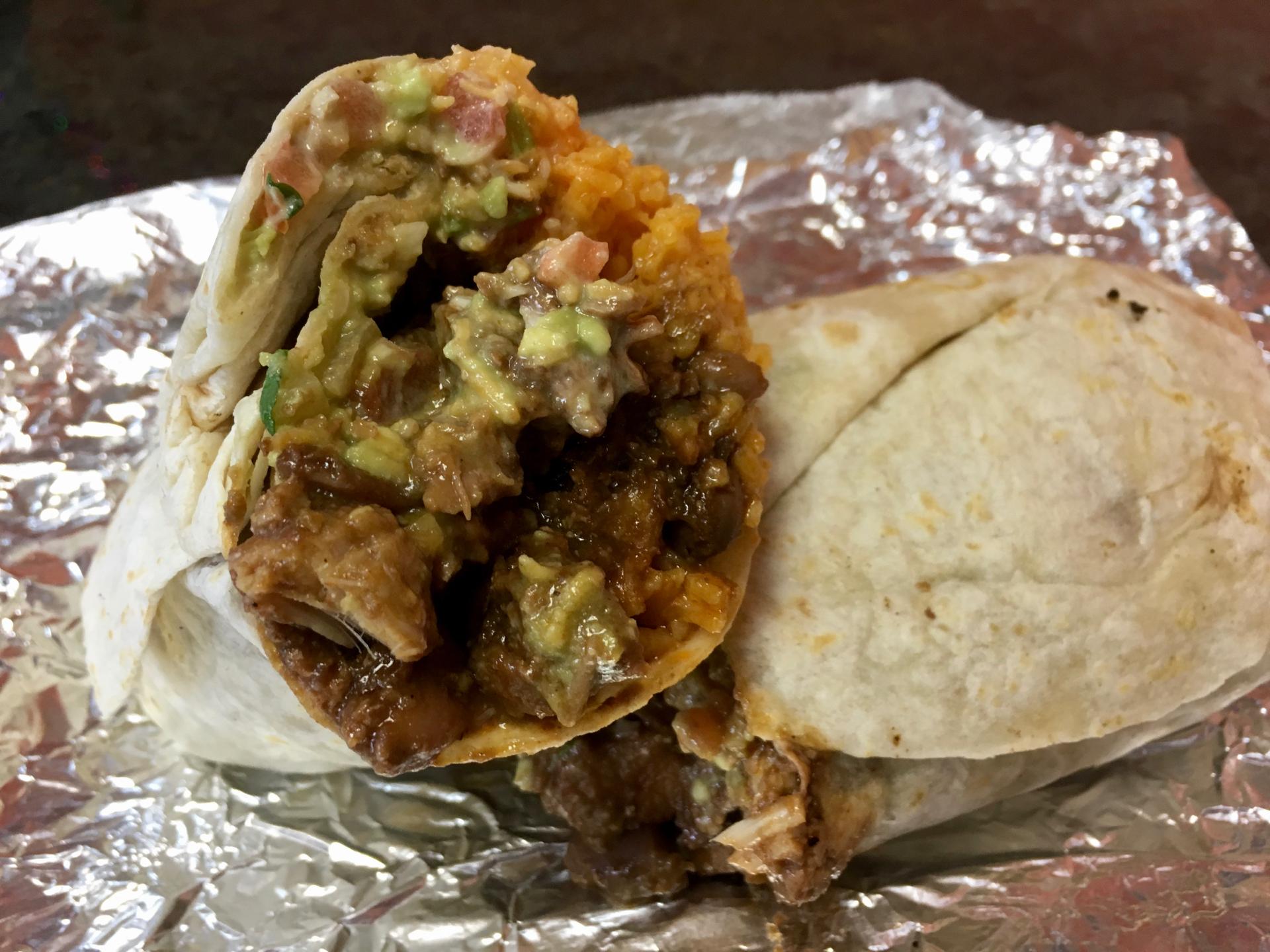 A chicken mole burrito at La Costena Mexican Grill.