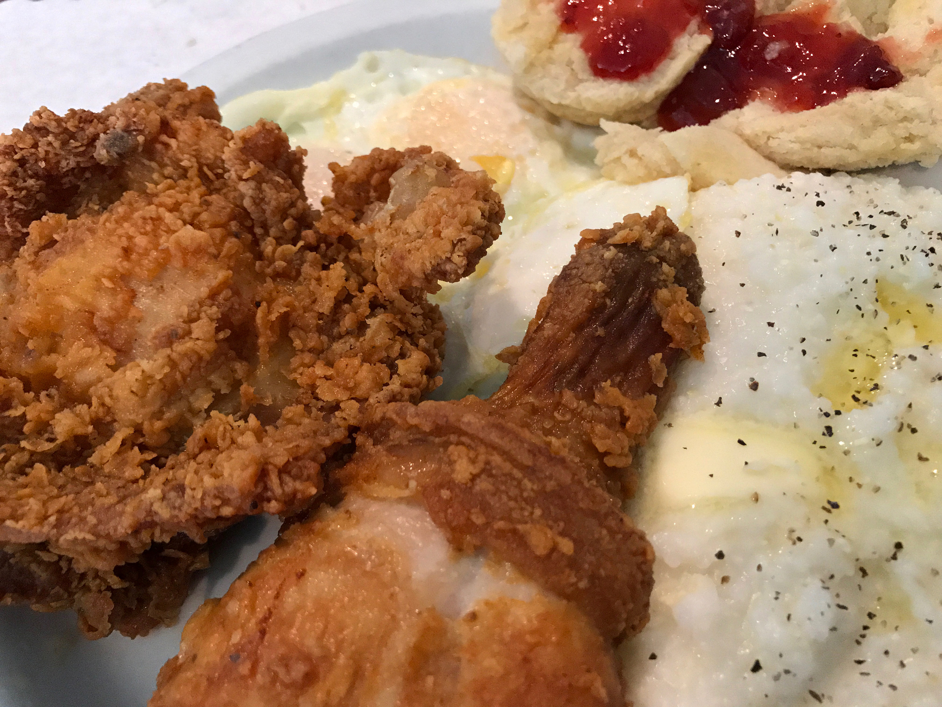 Fried chicken with grits and eggs at Oakland's Lois the Pie Queen.