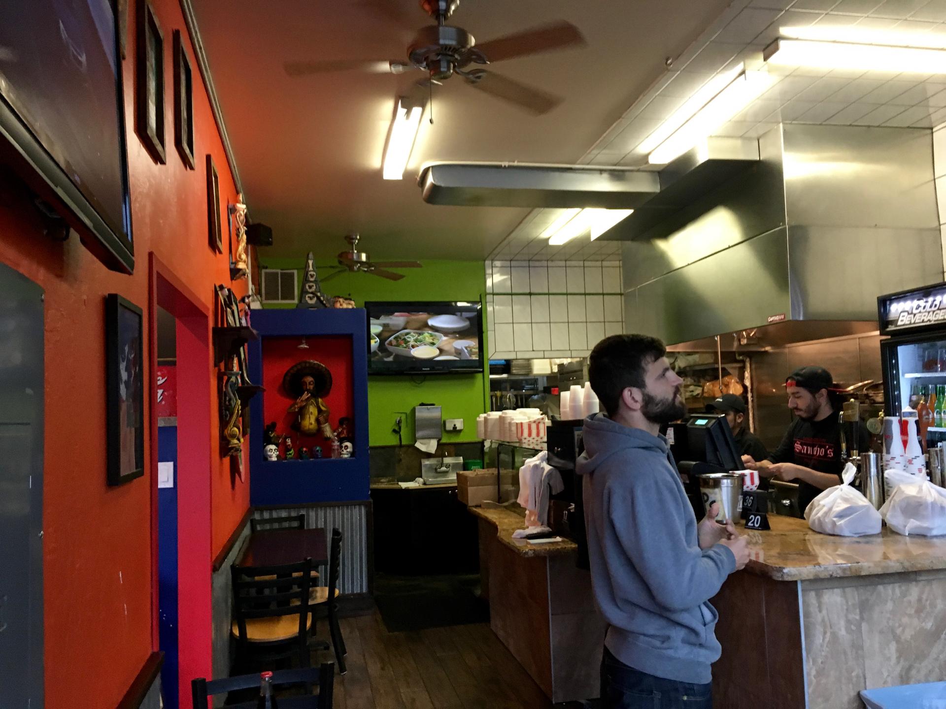 Inside Sancho's Taqueria in Palo Alto.