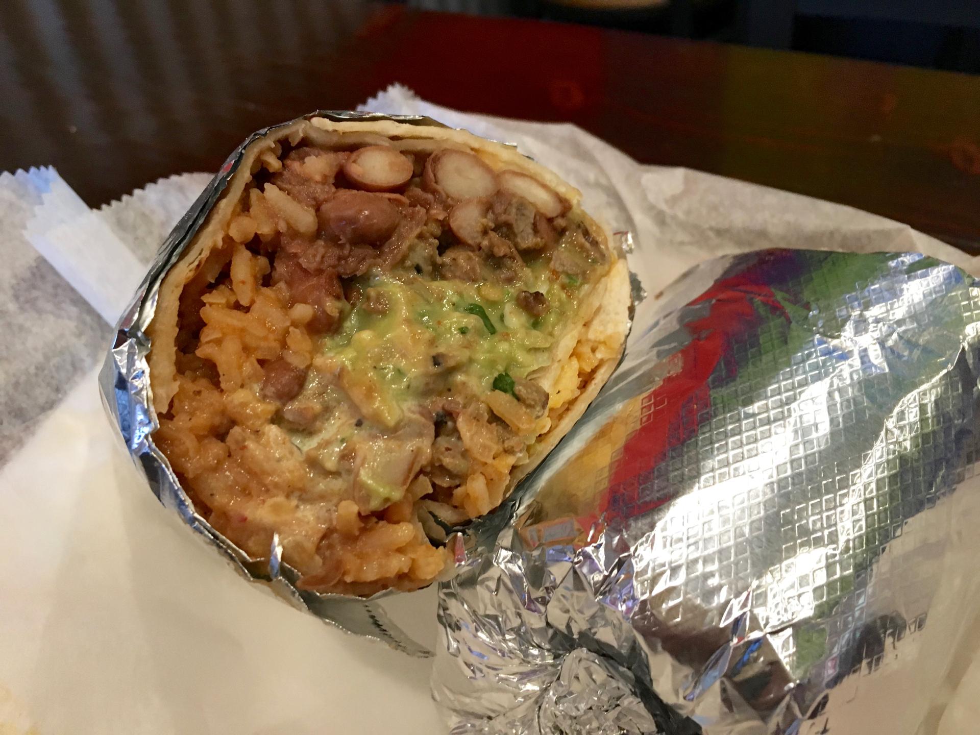 A super burrito with carne asada at Sancho's Taqueria.