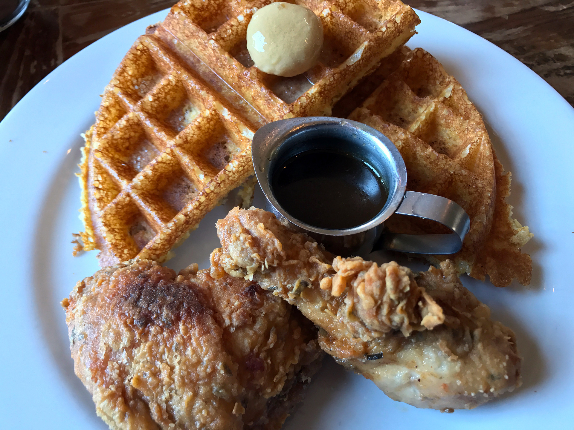 Tanya Holland's deservedly famous chicken and waffles at Brown Sugar Kitchen.