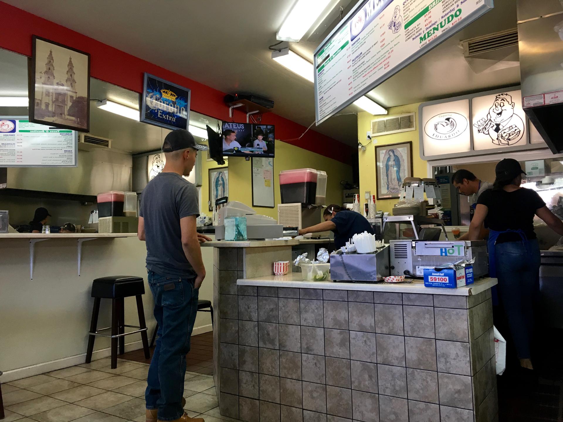 Inside Taqueria Eduardo in San Jose.
