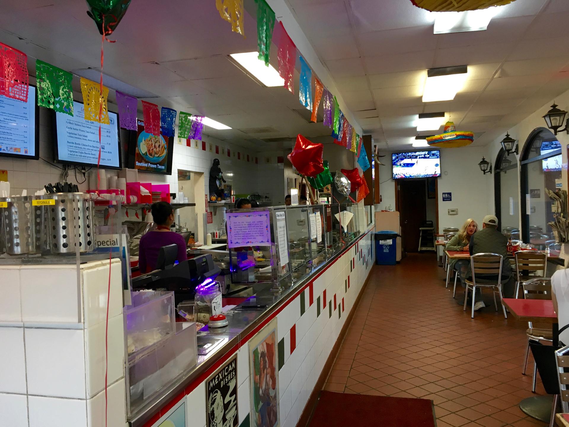 Inside Taqueria La Cumbre in San Mateo.