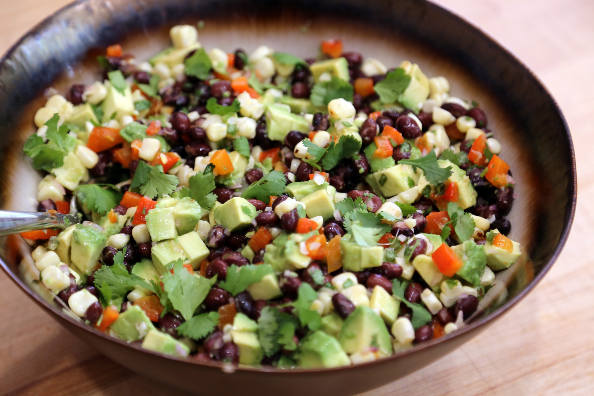 Grilled Corn, Red Pepper, Black Bean and Avocado Salad with Cilantro Vinaigrette