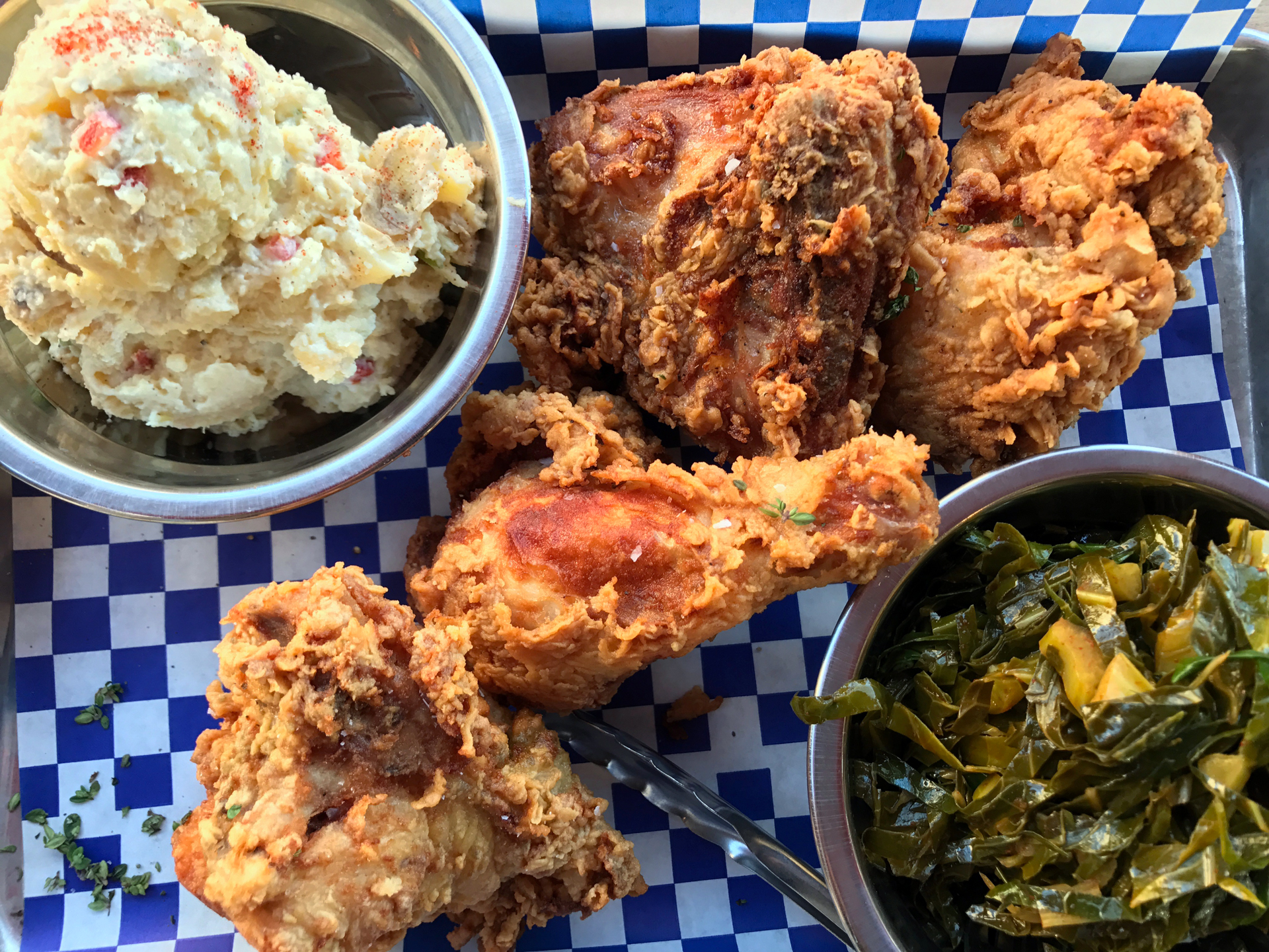 Fried Chicken Dinner at Miss Ollie's in Swans Market in Old Oakland.