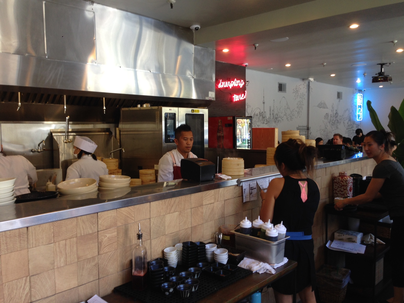 The open kitchen counter at Dumpling Time.
