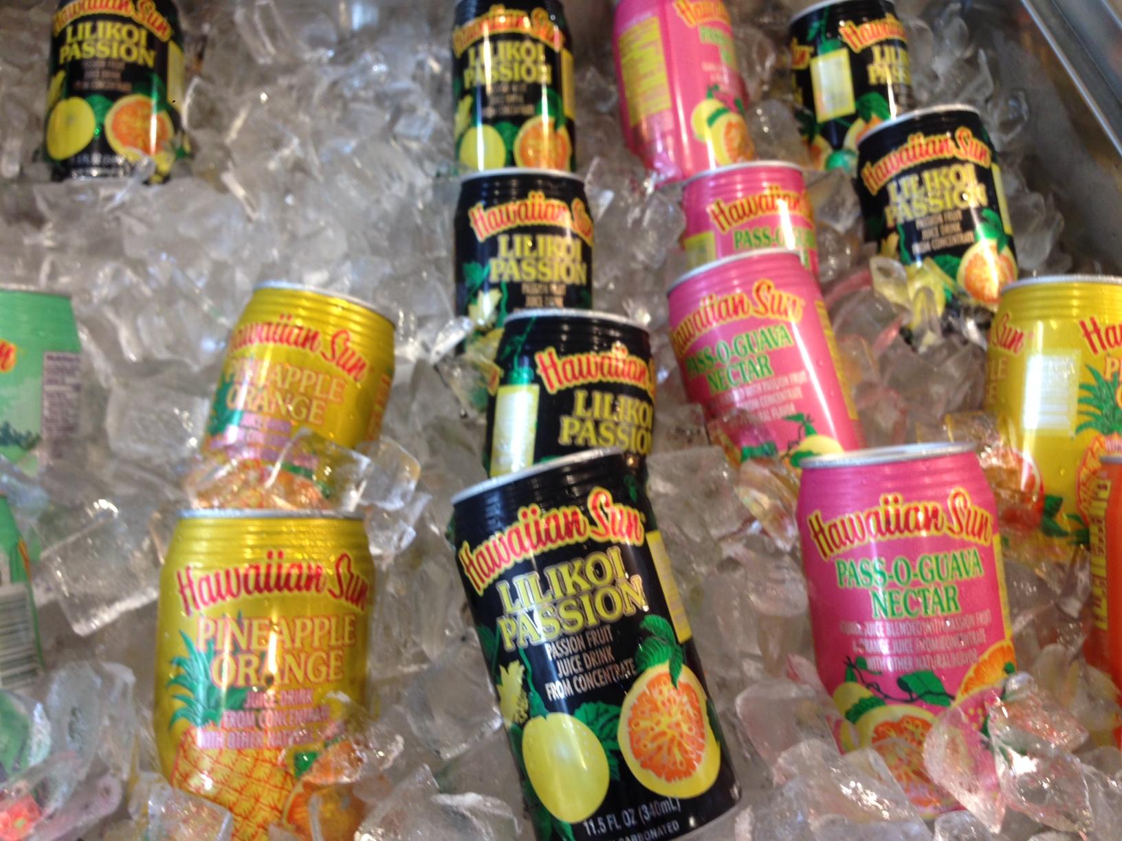 Hawaiian fruit juices and sodas available at Kagawa-Ya.