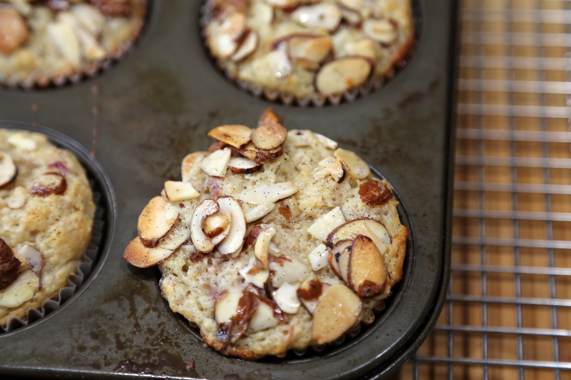 Roasted Rhubarb-Orange Muffins with Vanilla-Almond Crackle