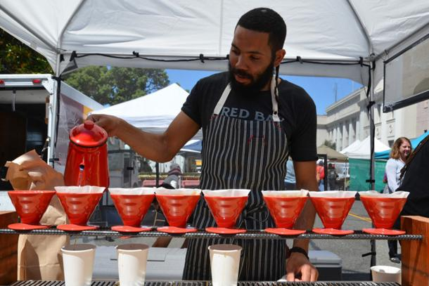Pour-overs at the farmers market.