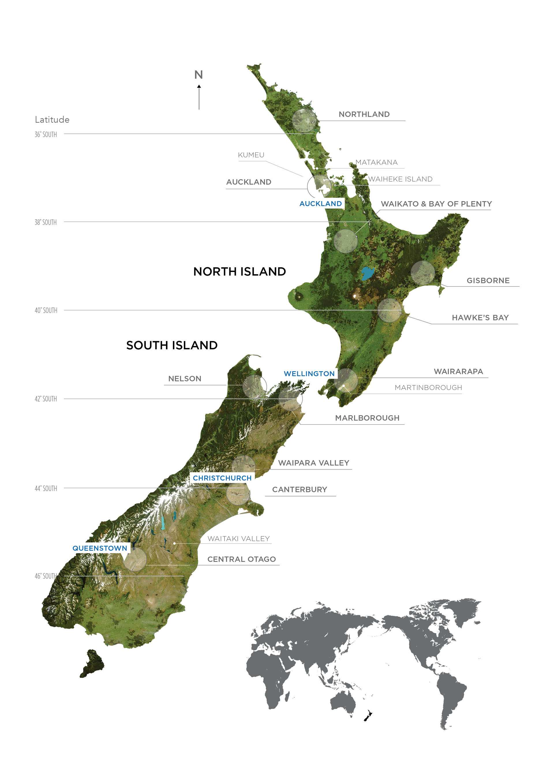 Although smaller than California, New Zealand now has 10 main wine regions, most of them near the coast except for Central Otago.