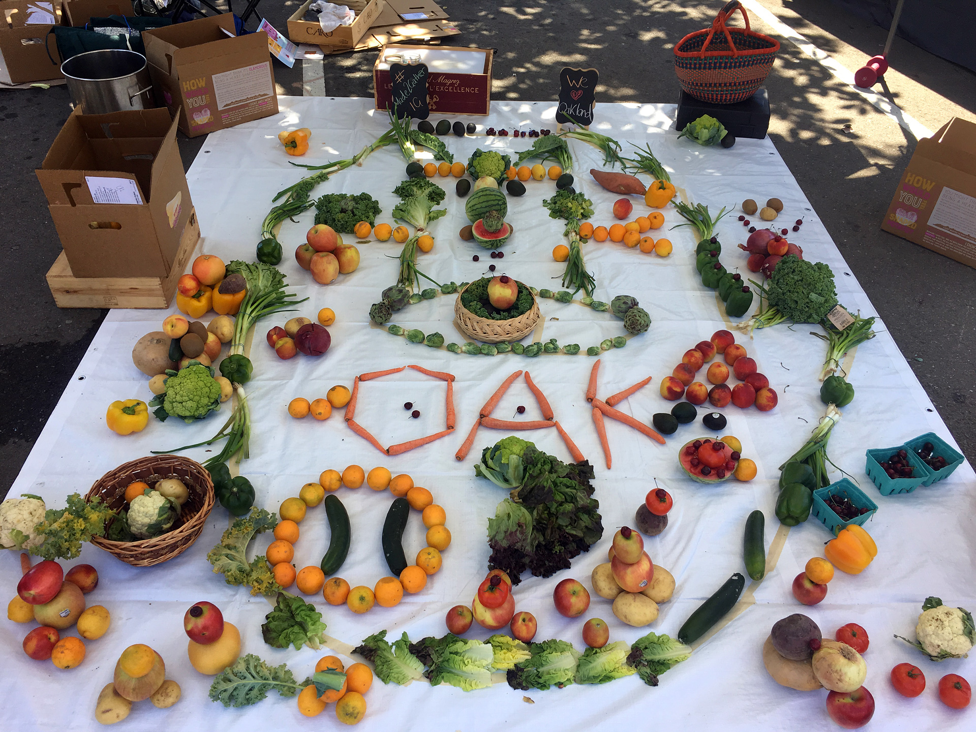 Chef Lee Davidson led a group of people in making this food mandala at Oakland's Eastlake Music Festival.