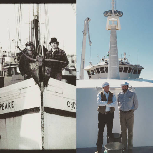 Brothers Michael (on the left in both photos) and Patrick Burns have spent decades as fishermen. But the inspiration for their humanely harvested seafood didn't come from the ocean. It came from their side business — a grass-fed cattle ranch — and from their deep admiration for scientist Temple Grandin and her advocacy of animal welfare and humane slaughter.
