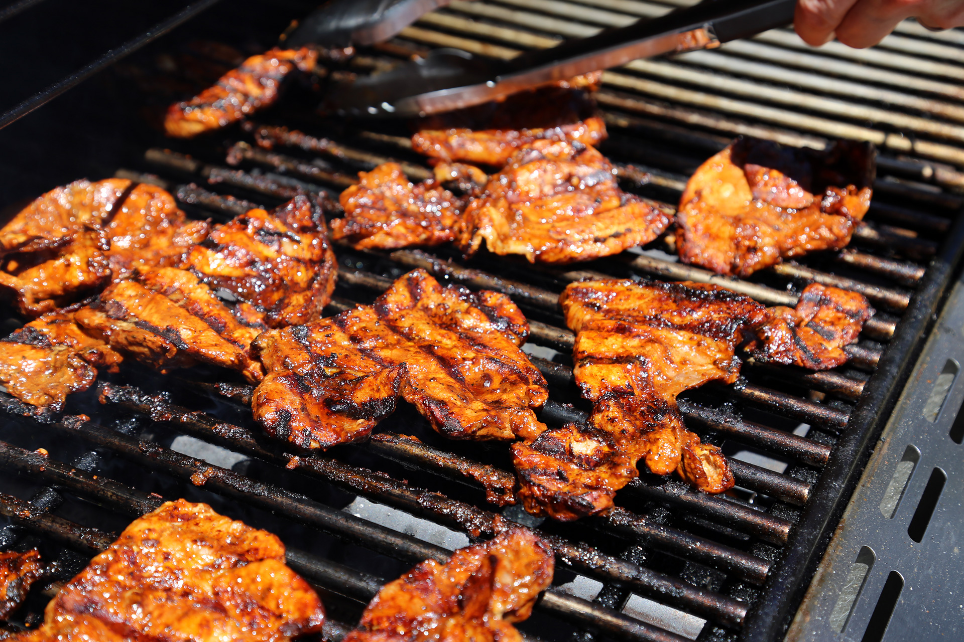 Grill until it begins to char and caramelize, turning once, about 10 to 15 minutes.