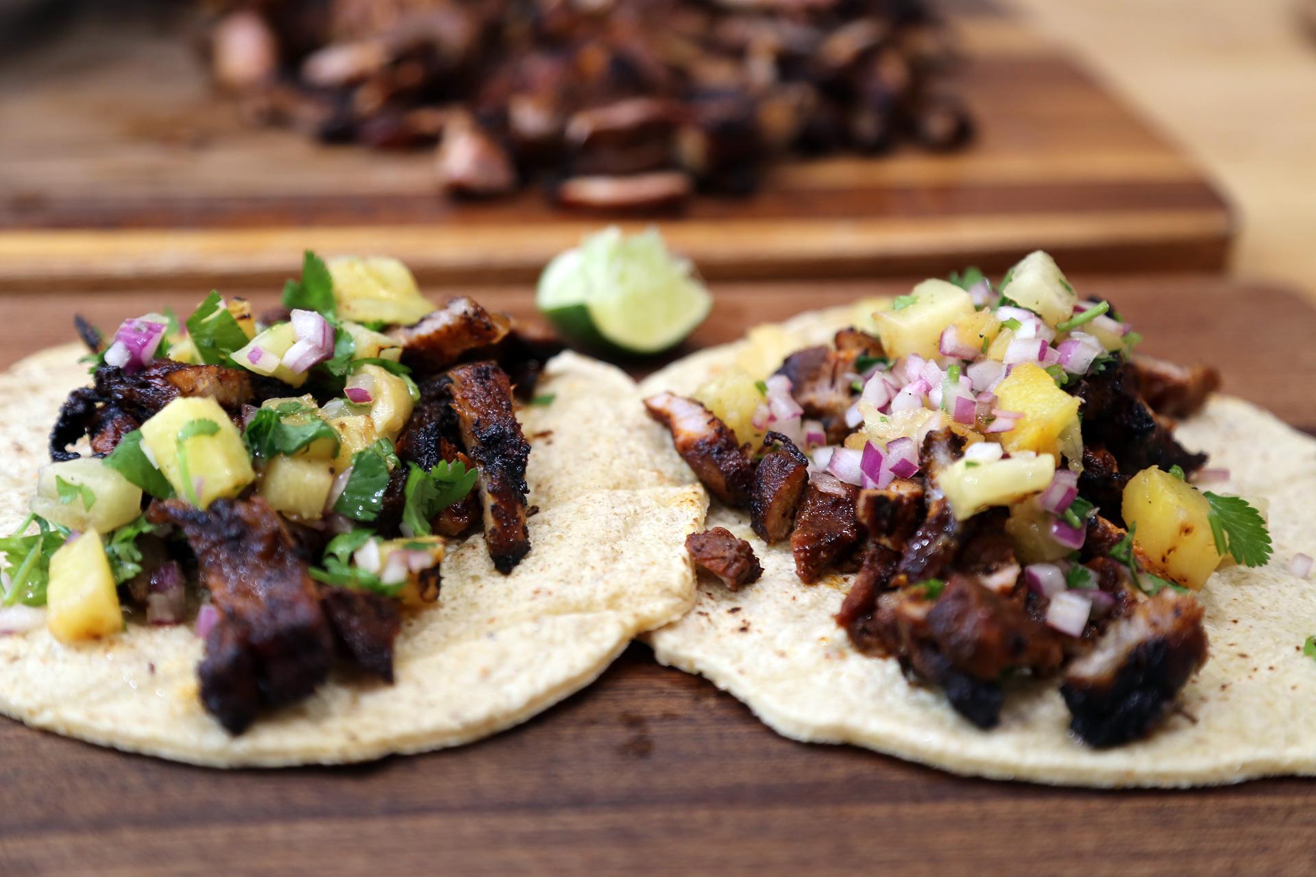 Grilled Pork Tacos, Al Pastor Style