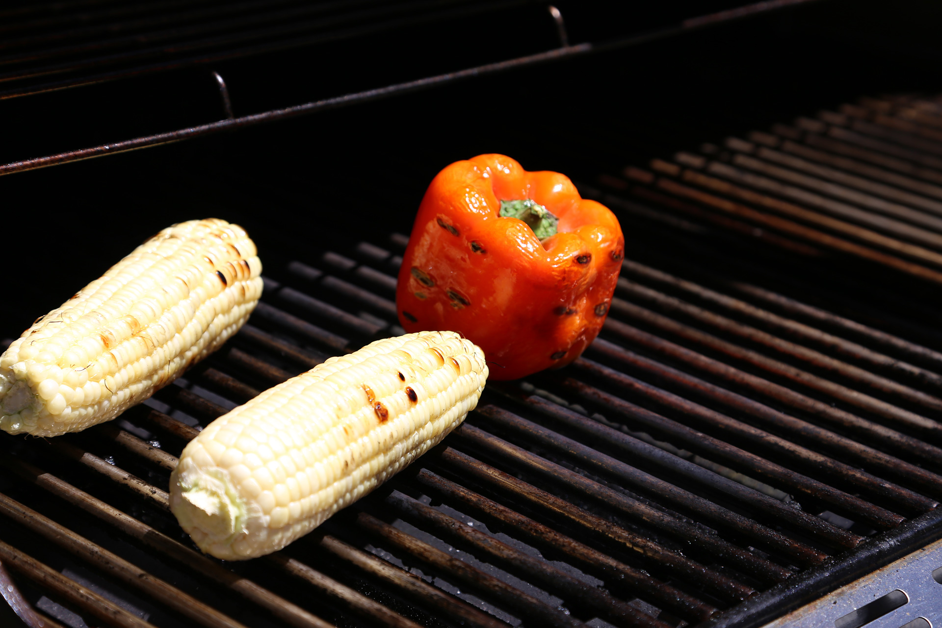 Grill the vegetables until charred.