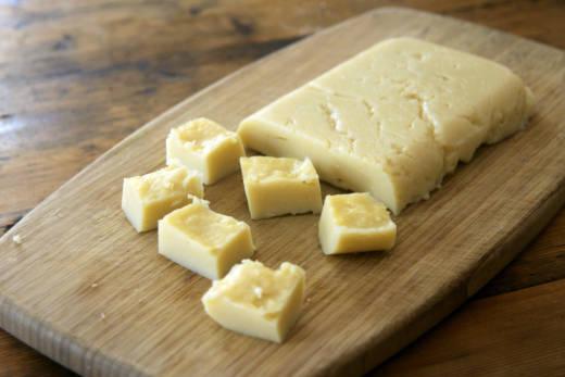 Homemade chickpea tofu.