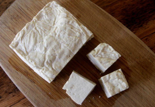 Homemade tofu.
