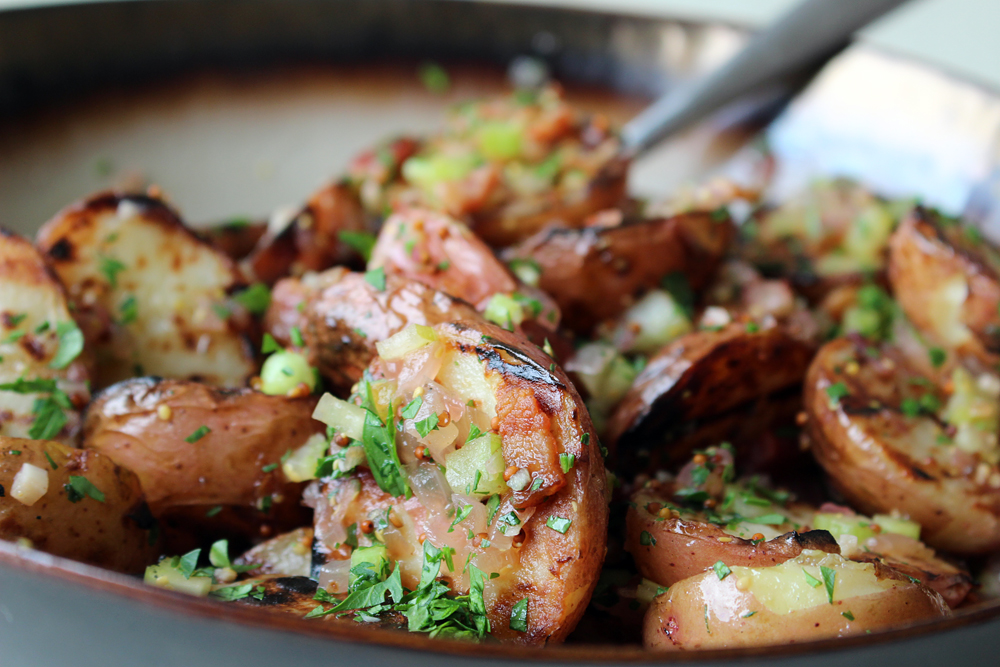 Grilled Potato Salad with Warm Bacon Vinaigrette