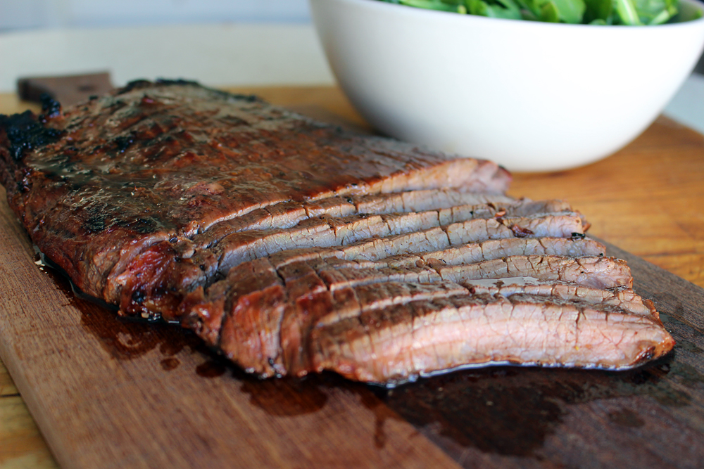 Summer BBQ Recipe: Grilled Marinated Flank Steak with Arugula Salad
