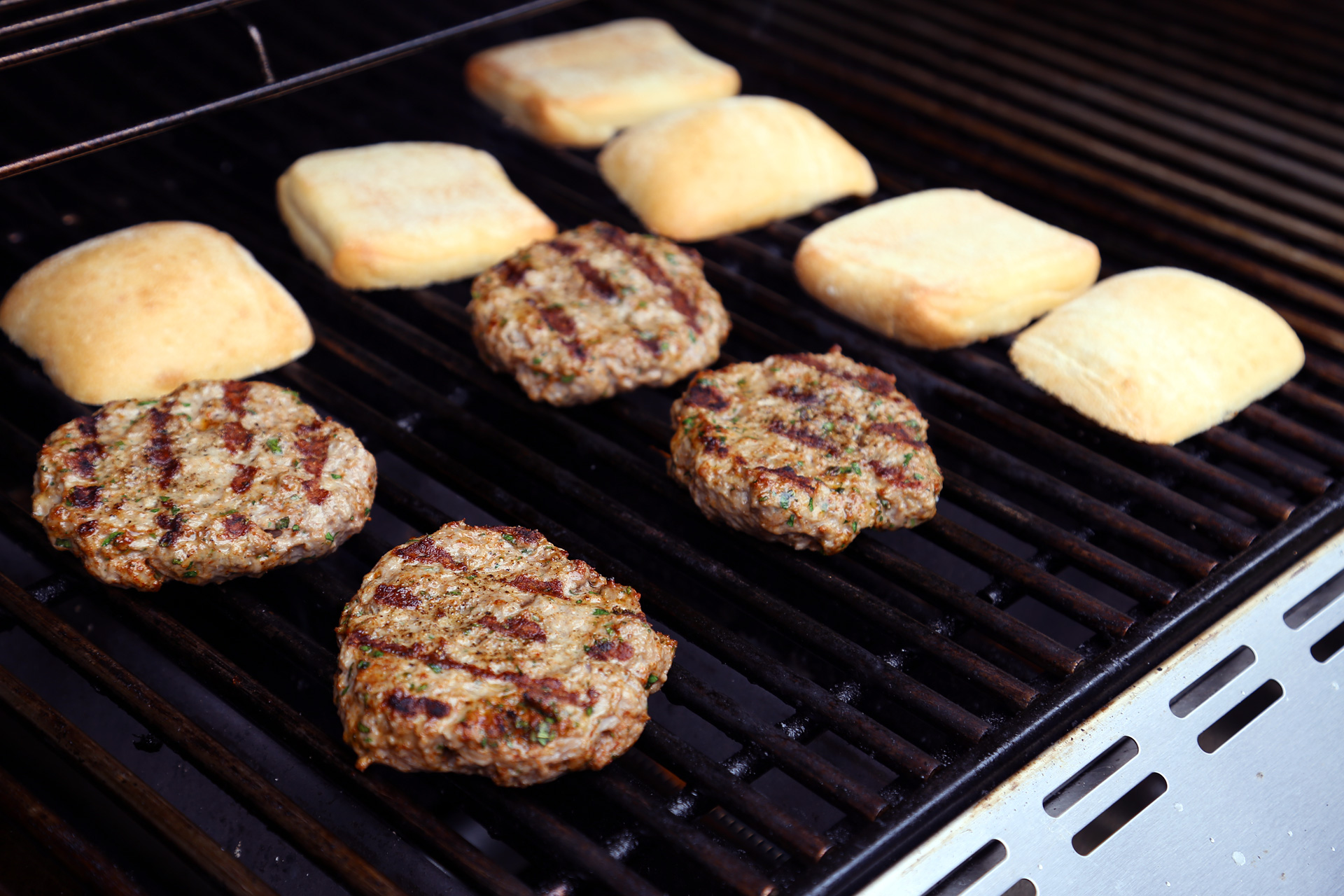 Grill the buns (cut side down) until lightly toasted.
