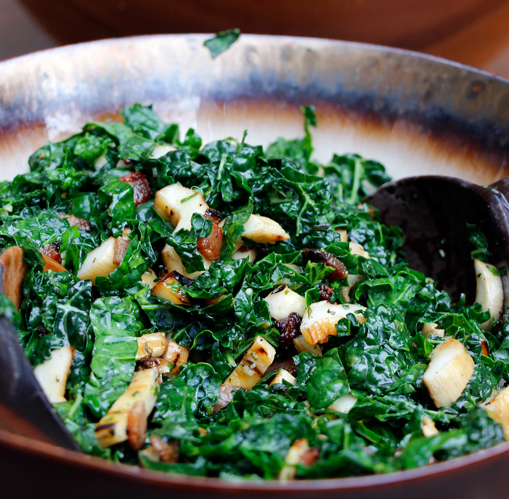 Throw Your Salad on the Grill: Grilled Mushroom, Kale, and Bacon Salad