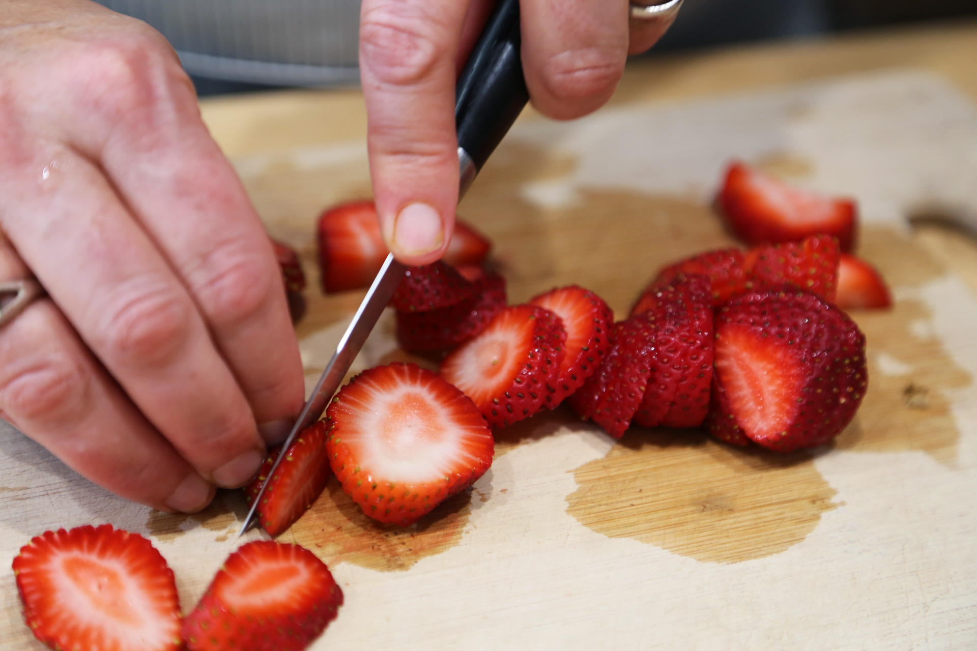 Strawberries, hulled and sliced