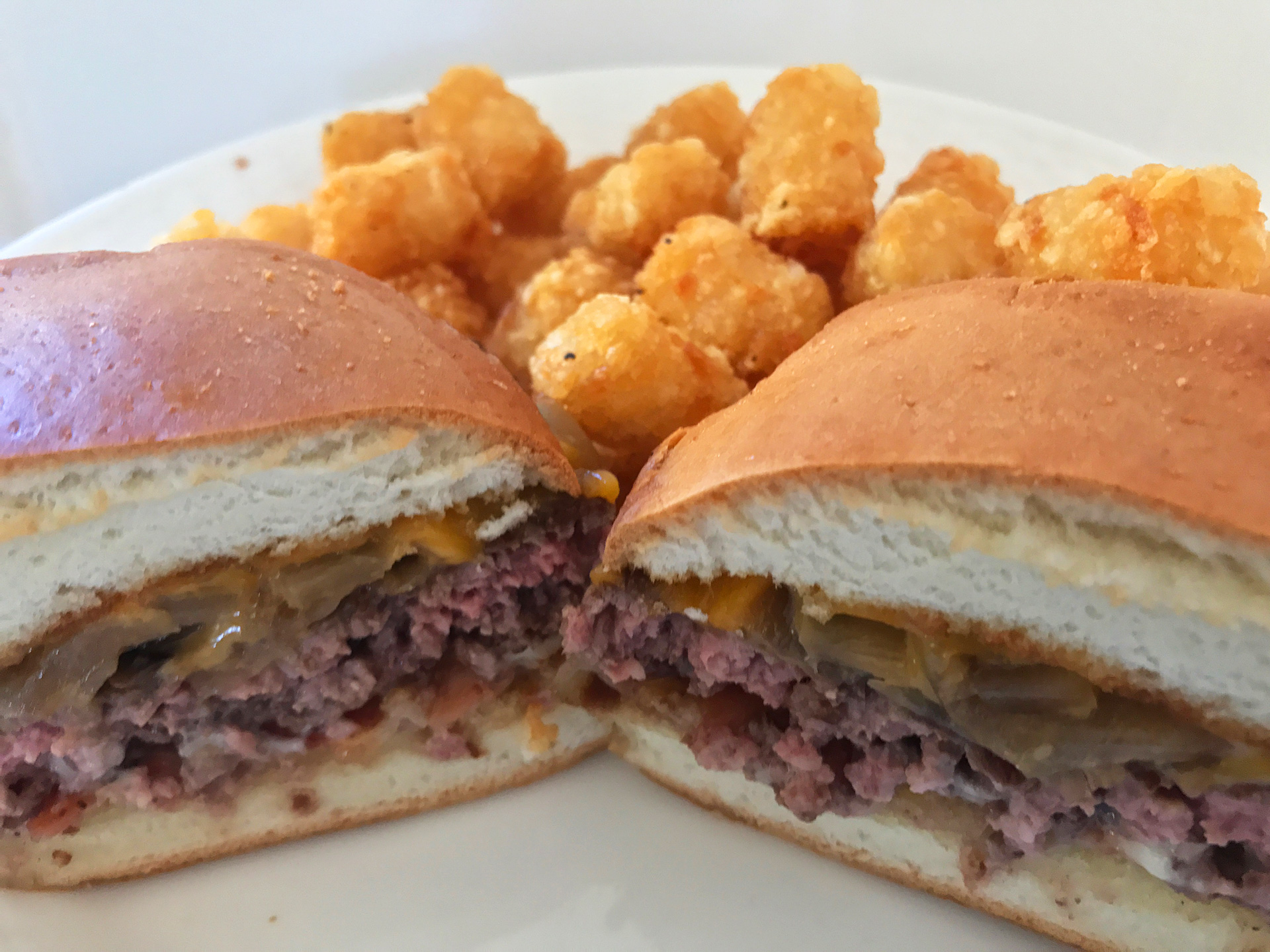 """Bunaburger"" with smoked onions, cheddar, and miso mayo."