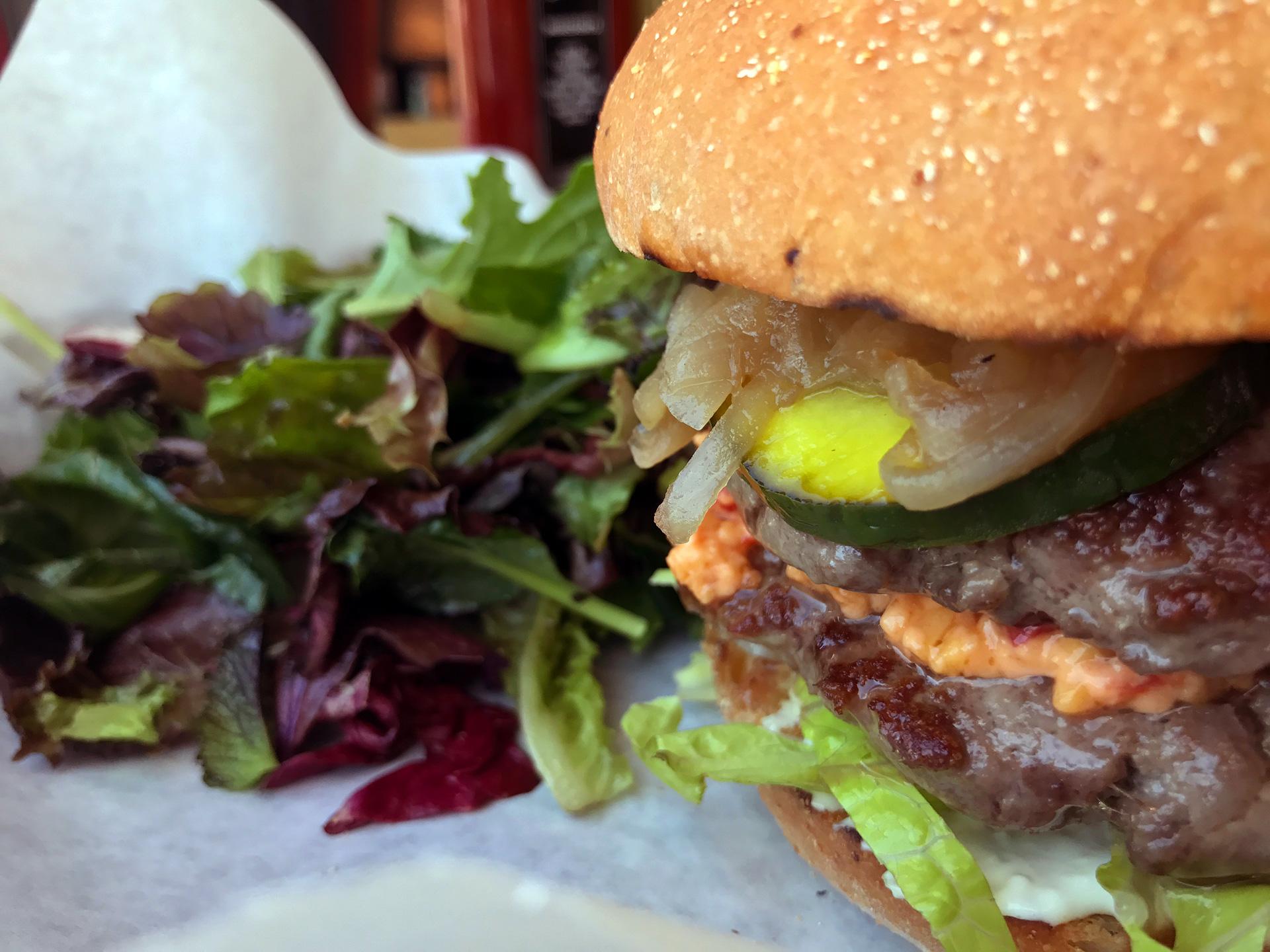 Clove and Hoof's double-decker grass-fed burger.