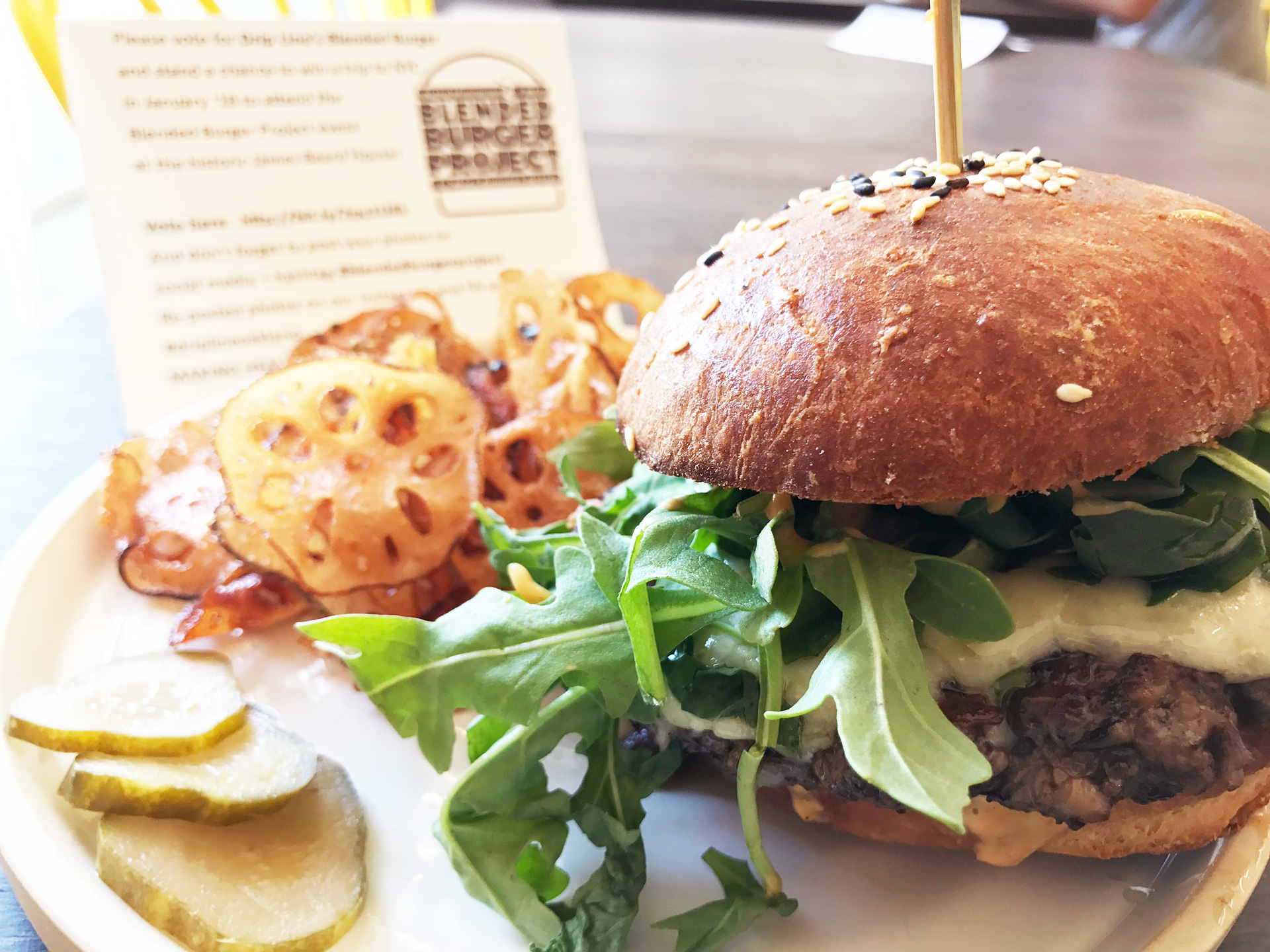 Chef Nora Dunning's blended burger with grass-fed beef and shiitake mushrooms.