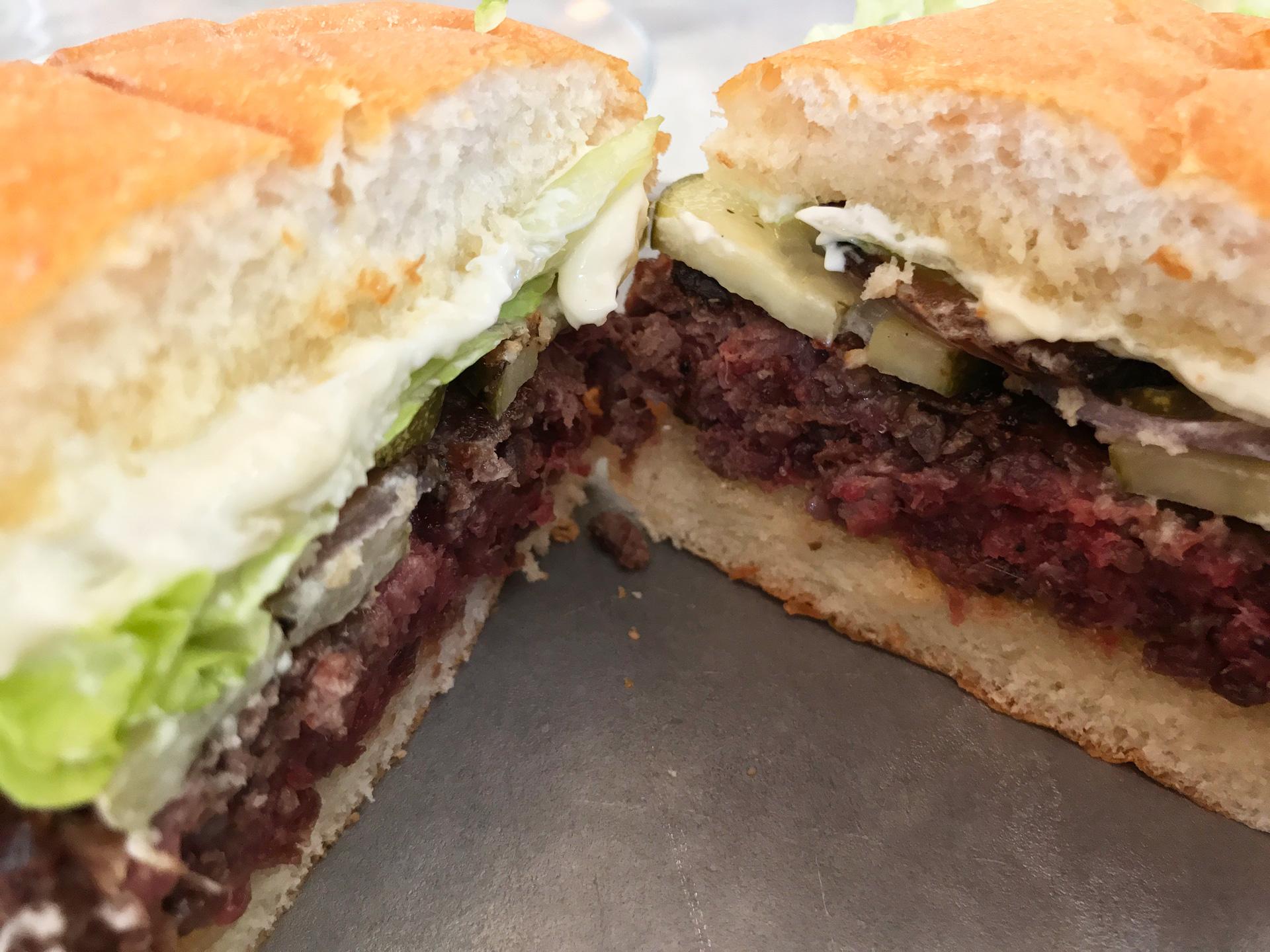 The vegan Impossible Burger, whose main ingredient is heme.