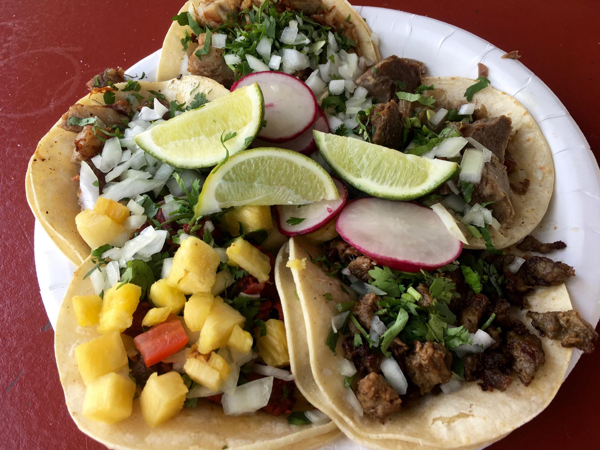 A plate of tacos at Tacomania.