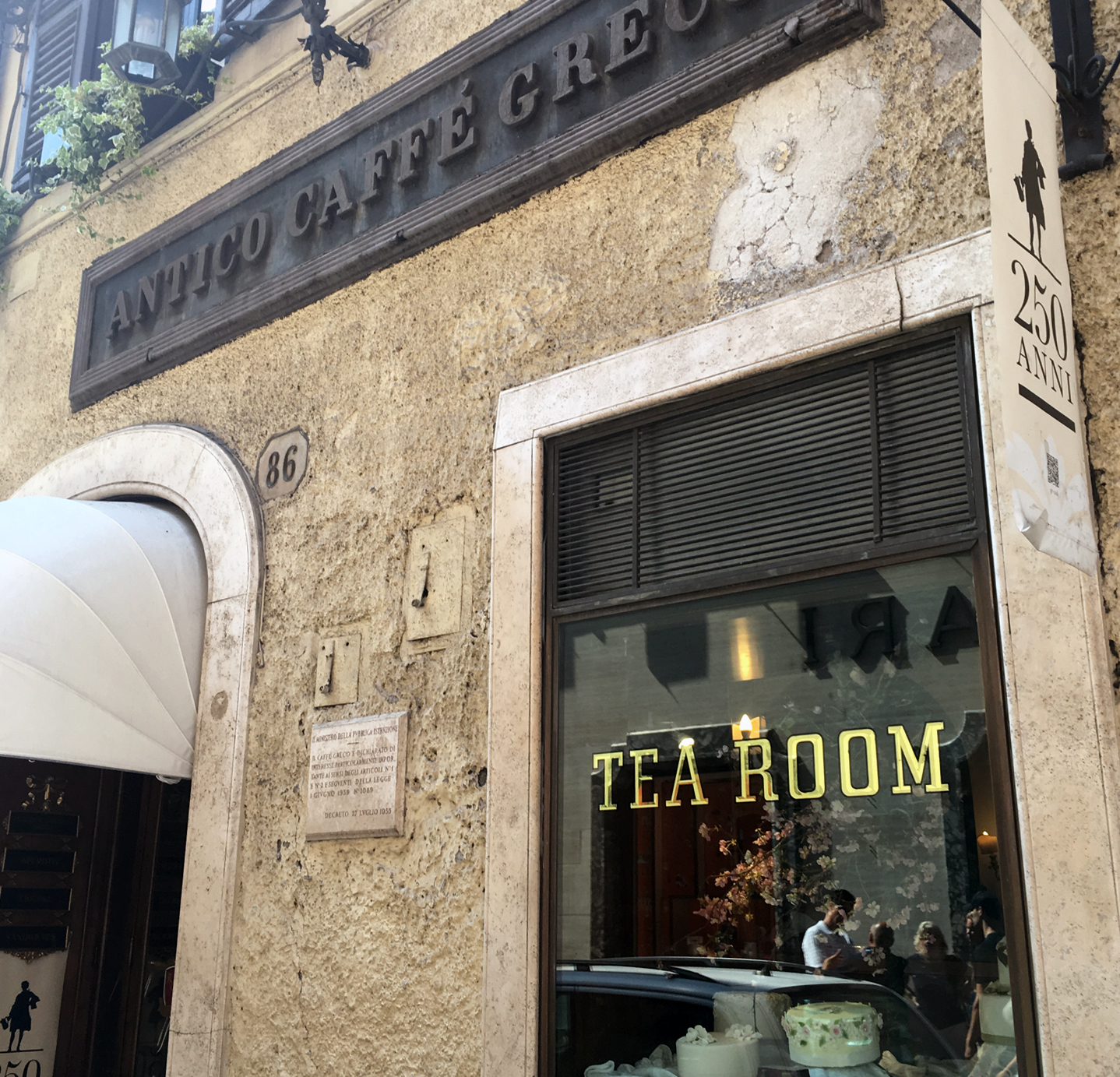 The entrance to Caffé Greco, the oldest café in Rome.