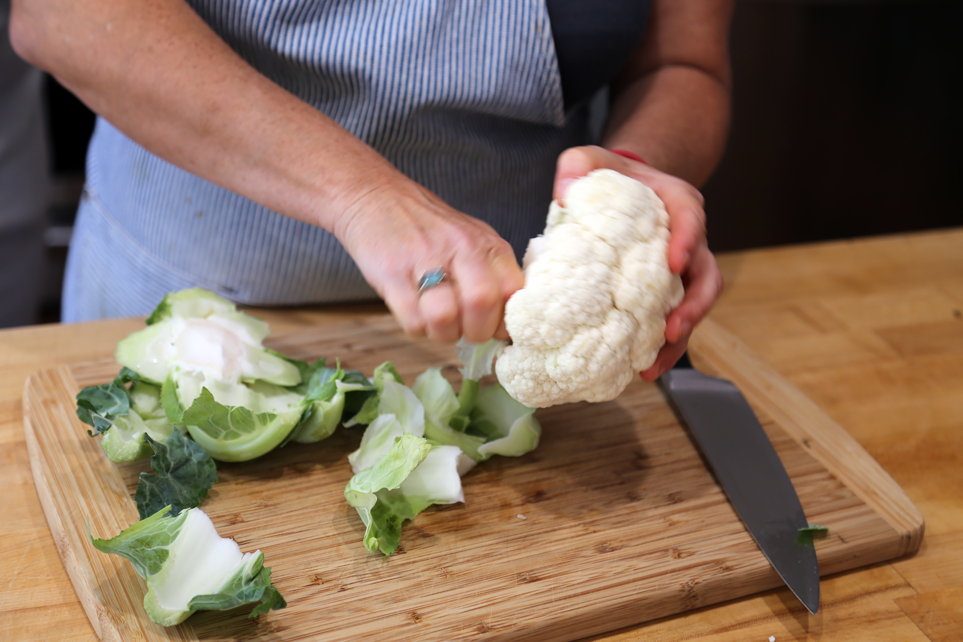 Prepping the cauliflower