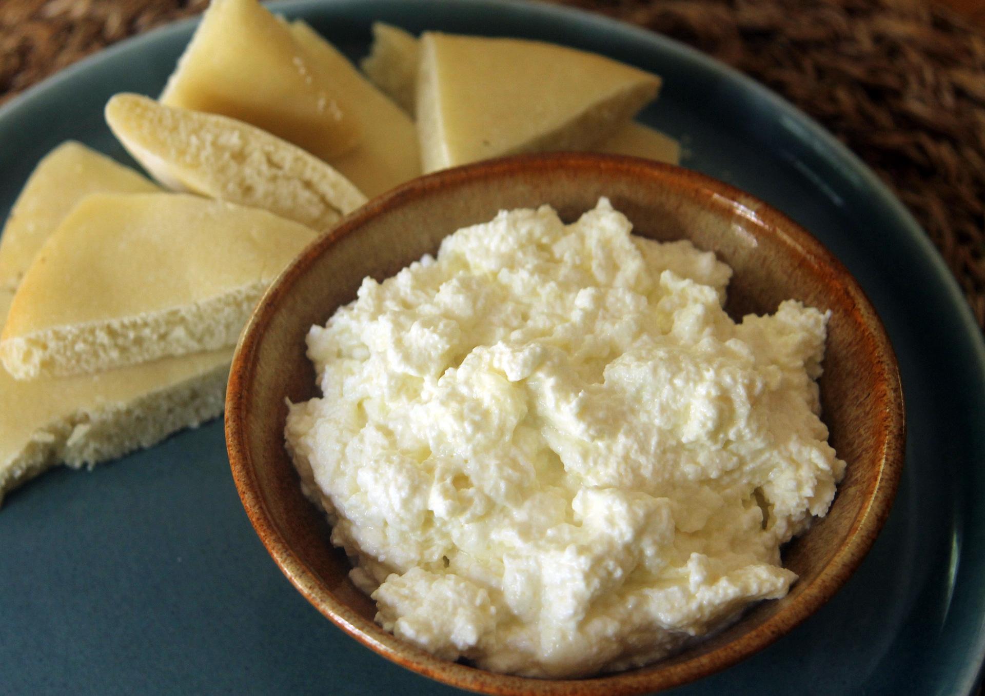 Homemade ricotta cheese.