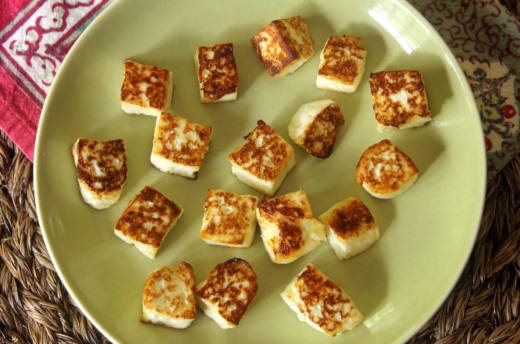 Homemade paneer, seared in olive oil.