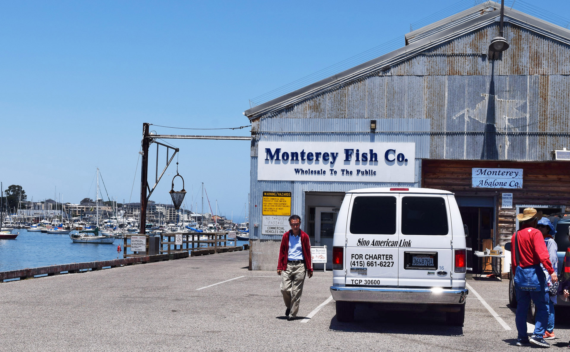 With its farm located under this municipal pier, Monterey Abalone Company (right) has a tiny office with a trapdoor and ladder that accesses its growing abalone population.